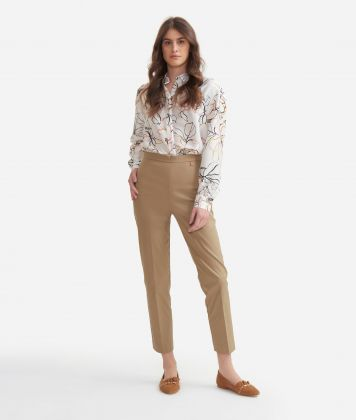 Cigarette trousers in stretch cotton gabardine Beige
