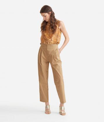 High-waist trousers in cotton poplin Beige