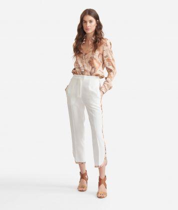 Smoking pants in fluid fabric Beige