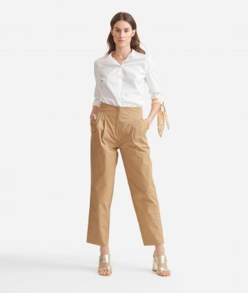 Shirt with bows in stretch cotton poplin White