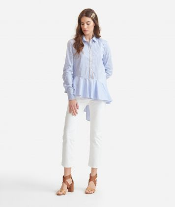 Shirt with flounce in stretch cotton White