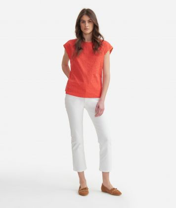 Short sleeves blouse in cotton Red