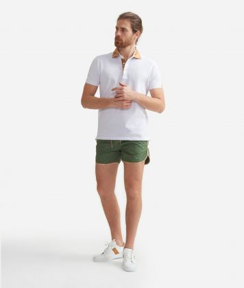 Short beach boxer with Geo Classic details Military Green
