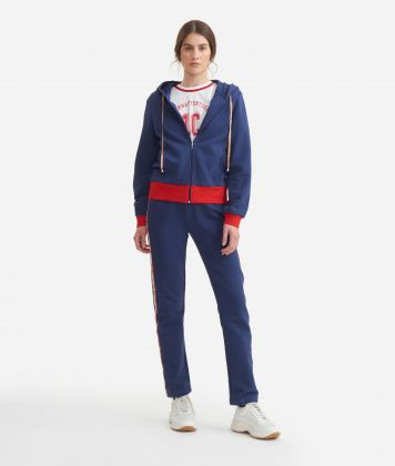 Sweatshirt with hood in cotton fleece Blue