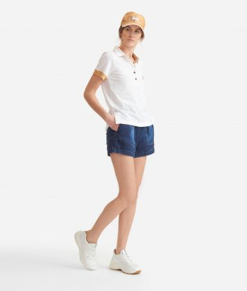 Polo in piquet cotton White