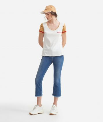V-neck t-shirt in jersey di cotone Bianca