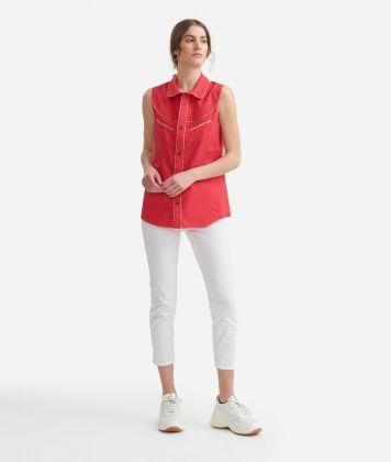 Rodeo sleeveless shirt in crisp cotton poplin Red