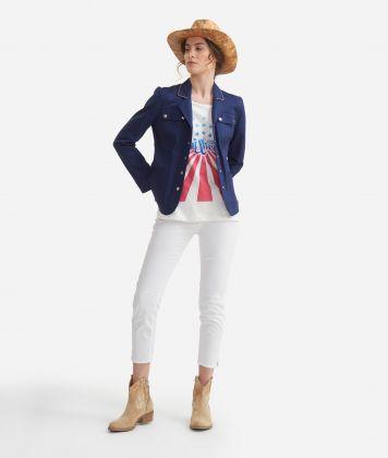 Jacket with pockets in stretch cotton gabardine Blue