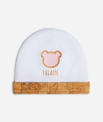 Baby girl hat with pink teddy bear
