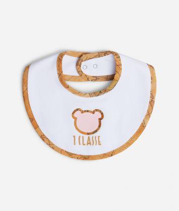 Baby girl bib with pink teddy bear