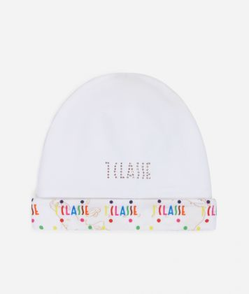 Baby hat in Geo Beige and multicolor logo