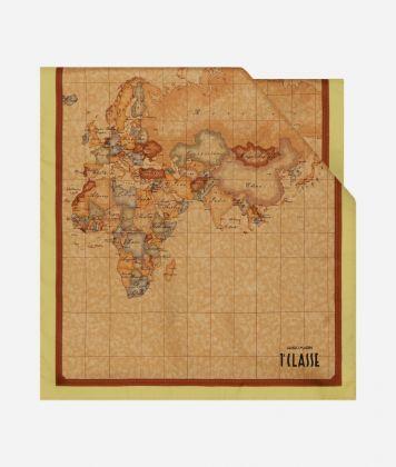 Scarf with Geo Classic print 45 x 180 Yellow