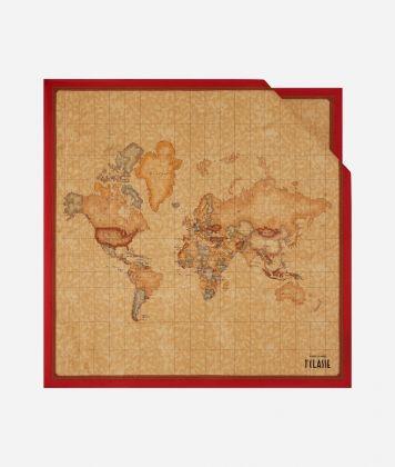 Foulard with Geo Classic print 70 x 70 Red