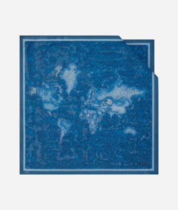 Foulard with Geo Color print 70 x 70 Blue