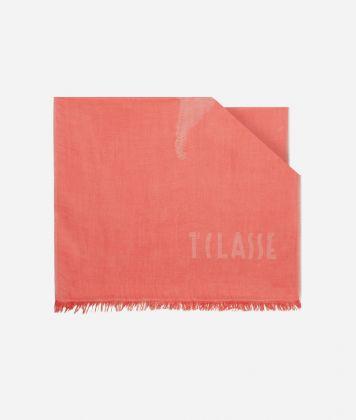 Scarf with Geo Pieno print 50 x 180 Red