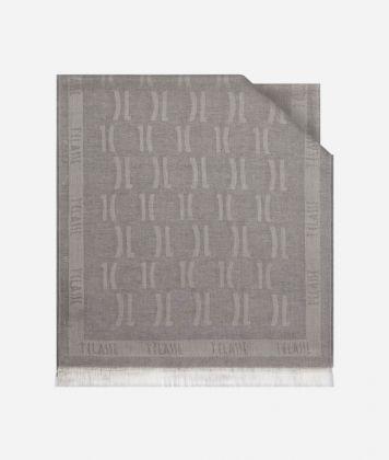 Scarf with 1C logo print 40 X 180 Grey
