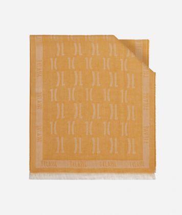 Scarf with 1C logo print 40 X 180 Yellow