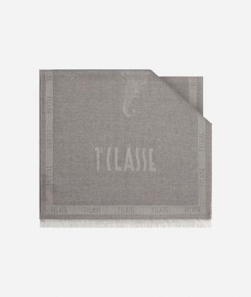 Scarf with Geo Filetto print 50 x 180 Grey