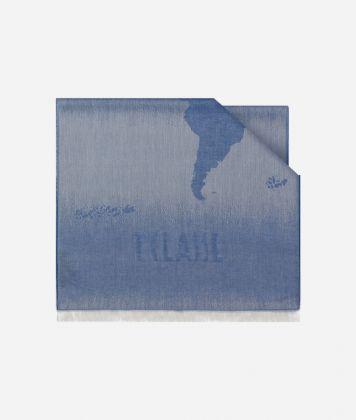 Scarf with Geo Pieno Degradé print 50 x 180 Blue