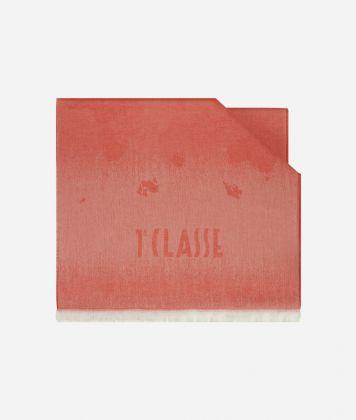 Scarf with Geo Pieno Degradé print 50 x 180 Red