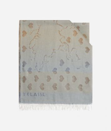 Scarf with Geo Filetto heart print  40 x 200 Brown