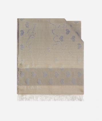 Scarf with Geo Filetto heart print  40 x 200 Beige