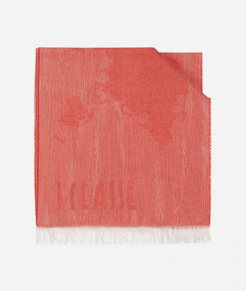 Scarf with Geo Pieno Mélange print 40 x 180 Red