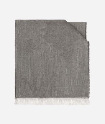 Scarf with Geo Pieno Mélange print 40 x 180 White
