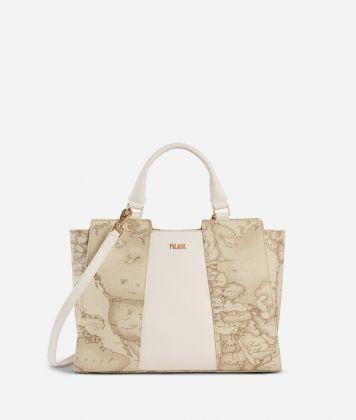 Lotus Flower Handbag in Geo Safari print fabric Beige