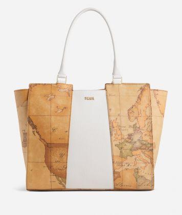 Lotus Flower Shopping Bag in Geo Classic print fabric White