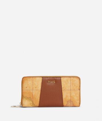 Lotus Flower Ziparound Wallet in Geo Classic print fabric Brown