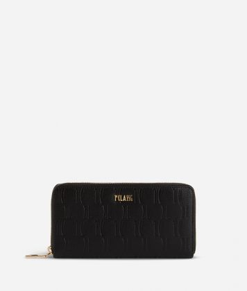 Nappa Monogram Ziparound wallet in leather with 1C impression Black