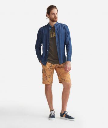 Camicia slim fit con colletto alla coreana in cotone denim Blu