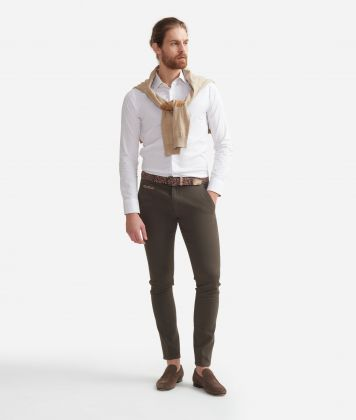 Camicia super slim fit  in misto cotone con toppe Geo Classic Bianco