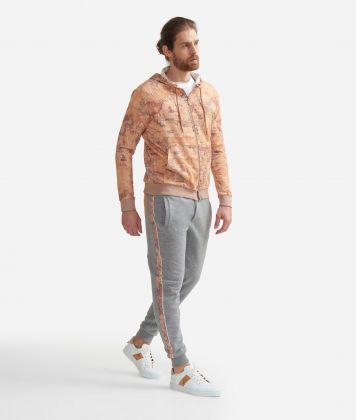 Jogging pants in fleece cotton with drawstring closure Grey