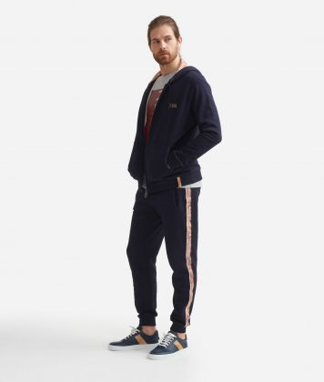 Jogging pants in fleece cotton with drawstring closure Blue