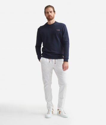 Baggy pants in cotton White
