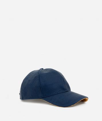 Baseball cap in canvas with map imprint Blue