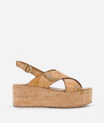 Sandals in Geo Classic print nappa