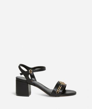 Sandali tacco alto in pelle liscia Neri