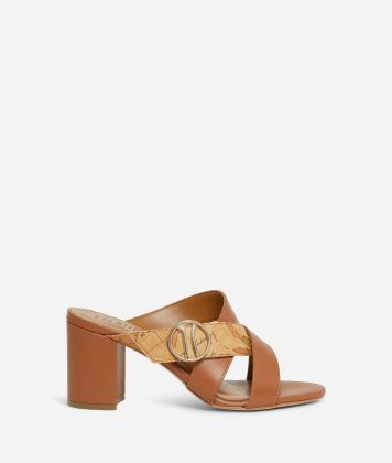 High-heel sliders with maxi logo 1C Brown