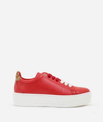 Sneakers in leather with 1C impression Red