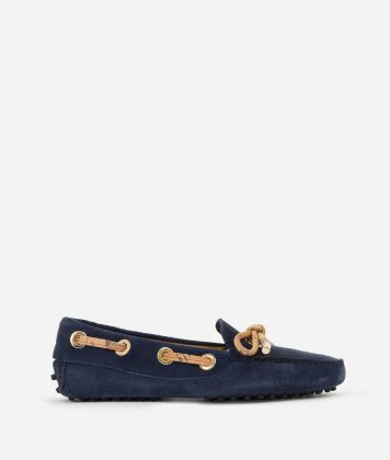 Moccassins in suede leather Blu