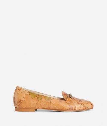 Exclusive Online Moccassin with horsebit in Geo Classic print nappa