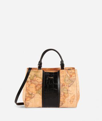 Geo Brilliant handbag in Geo Classic fabric and leather black