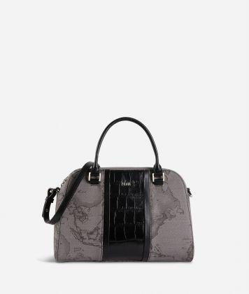 Geo Dark Brilliant satchel bag in Geo Dark fabric and leather dark grey