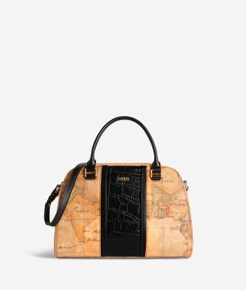 Geo Brilliant satchel bag in Geo Classic fabric and leather black