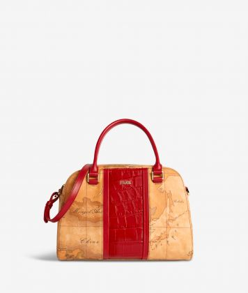Geo Brilliant satchel bag in Geo Classic fabric and leather scarlet red