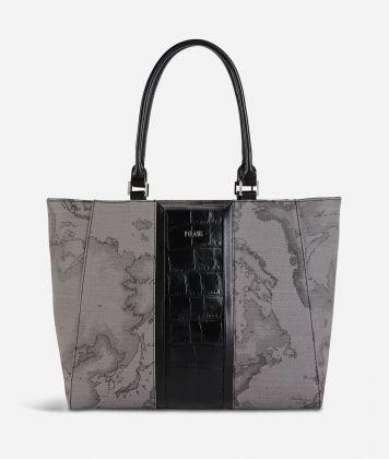 Geo Dark Brilliant shopping bag in Geo Dark fabric and leather dark grey