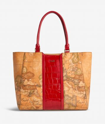Geo Brilliant shopping bag in Geo Classic fabric and leather scarlet red